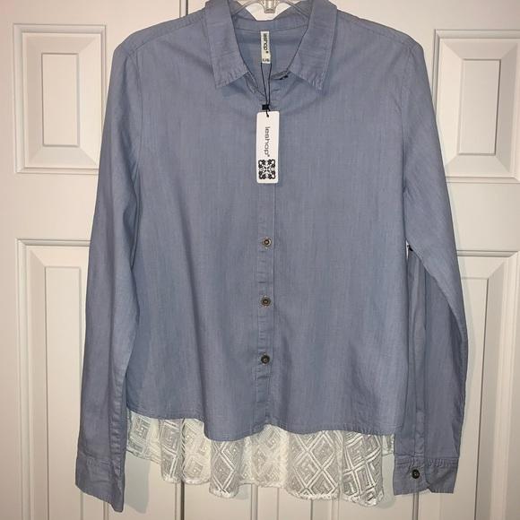 NWT Leshop Button Down long sleeve Shirt Size L.